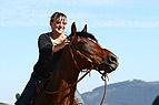Frau streichelt Pferd