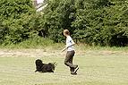 Frau rennt mit Hund